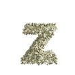 Kleiner Buchstabe z gebildet aus Dollar Banknoten