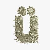 Kleiner Buchstabe ü gebildet aus Dollar Banknoten
