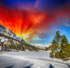 Beautiful colors of Dolomites Landscape in Winter
