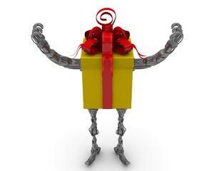 Самоходная подарочная коробка. Руки подняты вверх