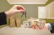 Woman Handing Over Cash For House Keys