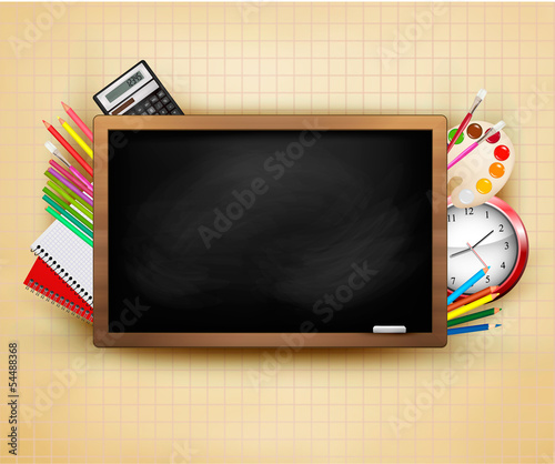 Back to school. Background with blackboard and school supplies.