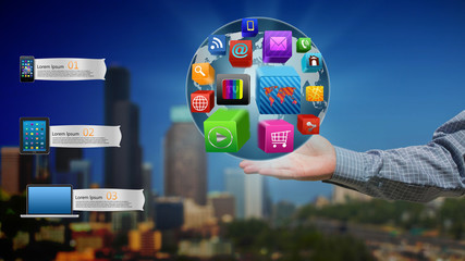 Colorful application icons  in the hands of businessmen