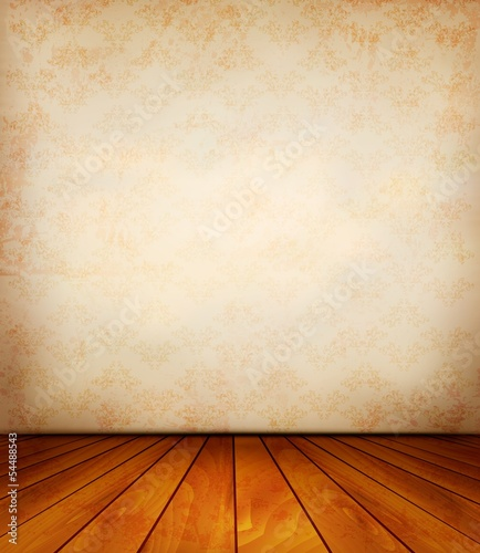 Old wall and a wooden floor. Vector.