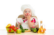 Chef kid preparing healthy food