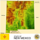 New Mexico USA counties name location map background