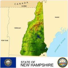 New Hampshire USA counties name location map background