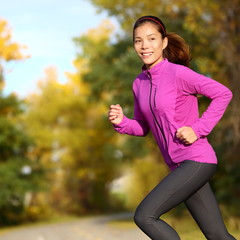 Young Asian woman running female jogger happy