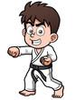 Vector illustration of Boy Karate Player