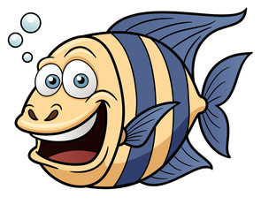 Vector illustration of Cartoon Happy fish