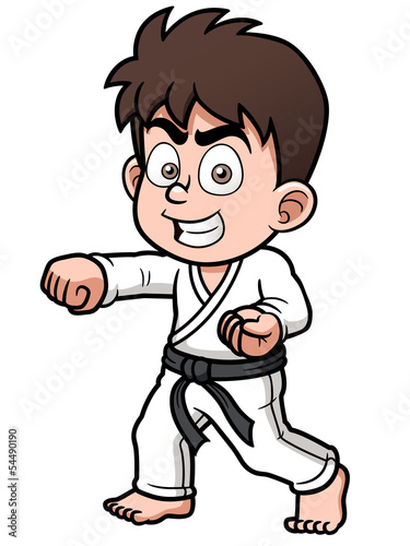 Vector illustration of Boy Karate Player