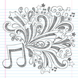 Fototapety Music Note Back to School Sketchy Doodles Vector Illustration