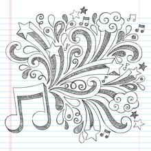 Note de musique Retour à l'école Sketchy Doodles Vector Illustration