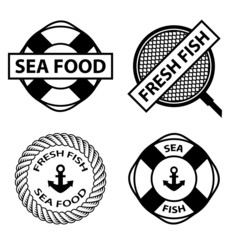 vector sea food stamps