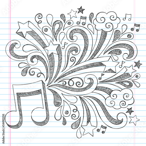 Music Note Back to School Sketchy Doodles Vector Illustration