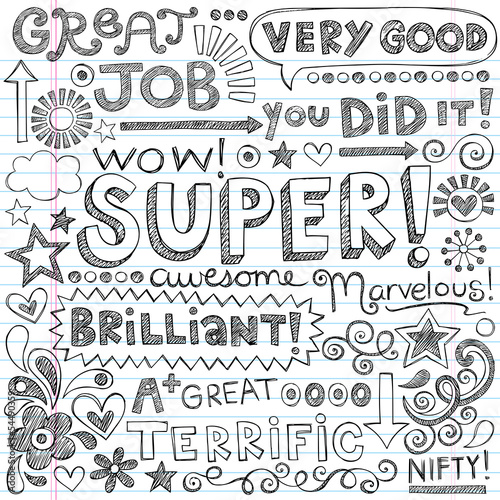Good Work Super Student Praise Phrases Back to School Doodles