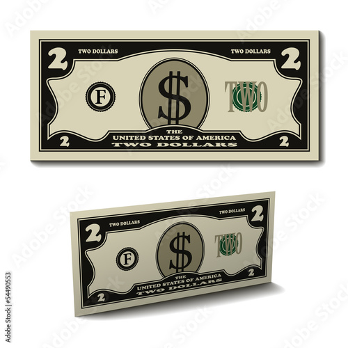 vector two dollar paper bill banknote