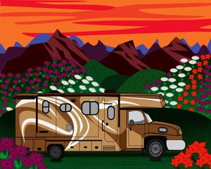 Brown RV Spring Summer Background