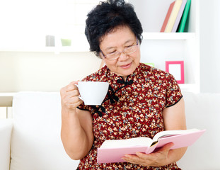 Asian senior woman relax at home