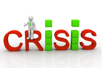 Business people sitting on the word crisis