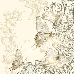 Hand drawn floral background for design