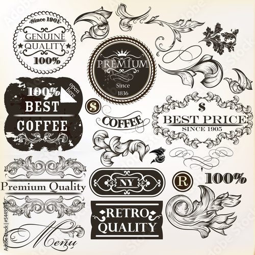 Vector set of decorative elements and labels in retro style