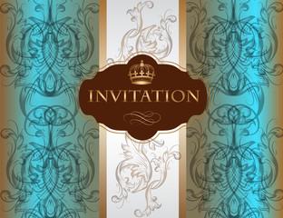 Invitation card with ornament in blue color