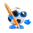 3d Football writes something down with a pen