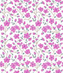 light; magnolia; pattern; seamless; pink, emerald, brown