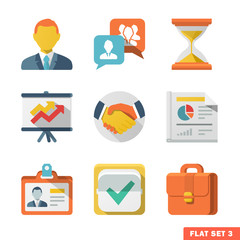 Business Flat icon set for Web and Mobile Application.