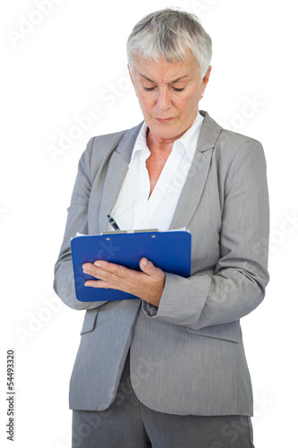 Businesswoman using her clipboard