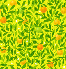 Seamless pattern summer with an orange tree