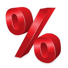 Schimmerndes 3D Prozentzeichen in rot – Vektor und freigestellt