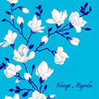 Vintage blue card with a magnolia