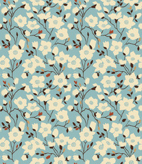 Retro a pattern with magnolia branches. Emerald