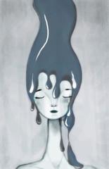 illustration of a sad, depressed woman