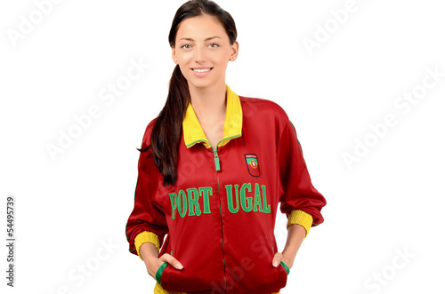 Fan with flag and Portugal written on her red sport blouse.