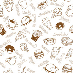 seamless wallpaper with fast foods