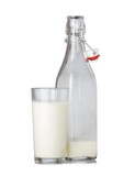 Fresh milk glass and bottle with vintage swing top