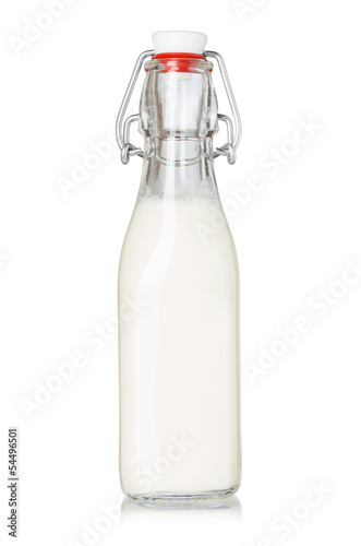 Milk bottle with vintage swing top isolated on white