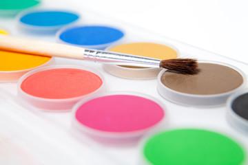 Paint box isolated on white background