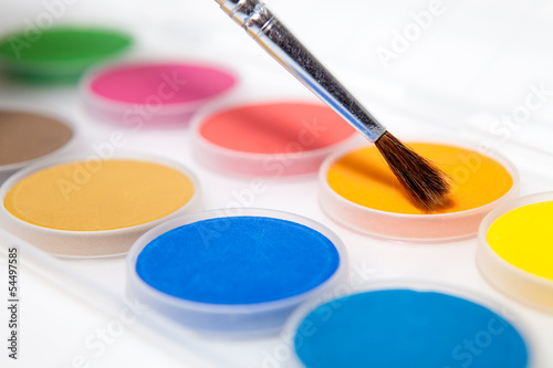 Paint box isolated on white background