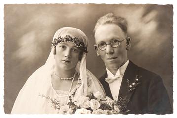 original antique wedding photo. portrait of just married couple