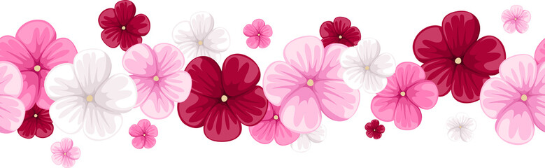 Horizontal seamless background with mallow flowers. Vector.