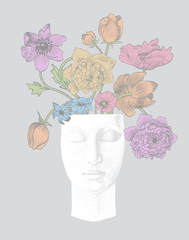 Vintage background with sculpture and flowers. Gray