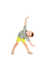 little boy dancing. Cheery party.