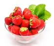 Red strawberry in the bowl