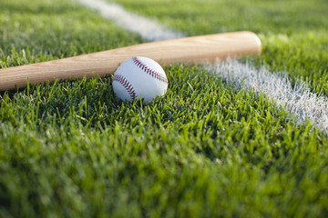 Baseball bat and ball on grass near field stripe