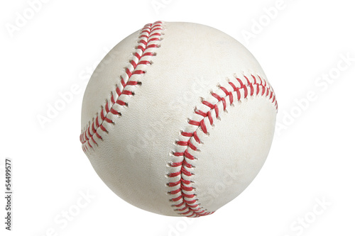 Leinwandbild Motiv Baseball isolated on white with clipping path