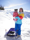 woman and child at ski resort